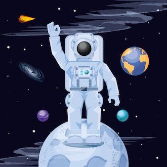 Astronaut in het ruimtekarakter
