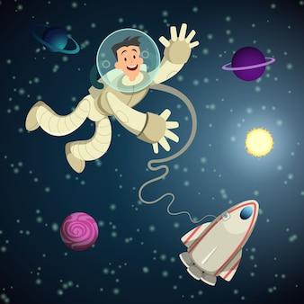 Astronaut in open ruimte met shuttle en enkele planeten.