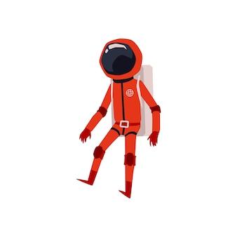 Astronaut in oranje ruimtepak en helm stripfiguur, illustratie op witte achtergrond. kosmonaut of ruimtevaarder komisch grappig personage.