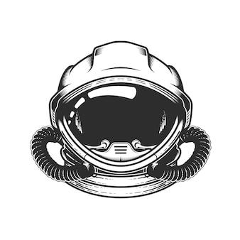 Astronaut in ruimtehelm, hoofd van ruimtevaarder in ruimtepak, kosmonaut, ruimteschippiloot