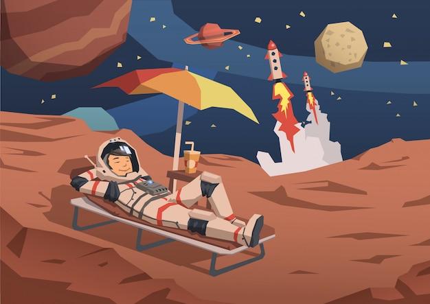 Astronaut in ruimtepak met een cocktail op een zonnebank op een buitenaardse planeet met raketlancering in de buurt.