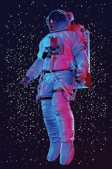 Astronaut in ruimtepak op de ruimte., vector