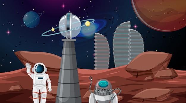Astronaut in ruimtestad Gratis Vector