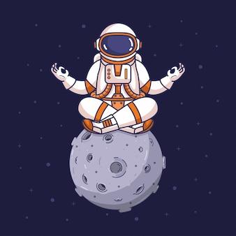 Astronaut in yoga meditatie houding