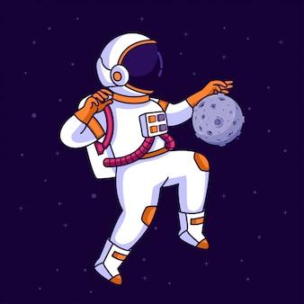 Astronaut jongleren met in de ruimte