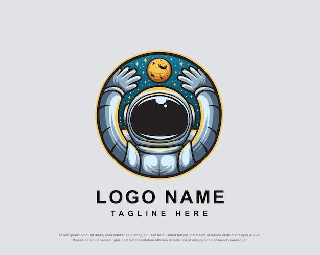 Astronaut karakter logo ontwerp