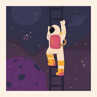 Astronaut klimt ladder in de ruimte leuke vectorillustratie om af te drukken op een tshirt