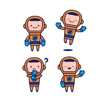 Astronaut kosmonaut cute cartoon vector mascotte karakter set met oranje ruimtepak