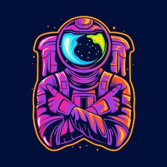 Astronaut kruis hand één vinger illustratie