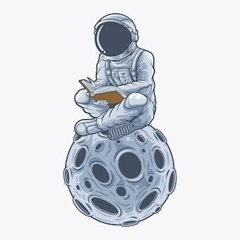Astronaut leest een boek