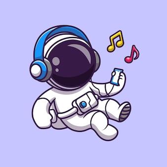 Astronaut luisteren muziek met hoofdtelefoon cartoon vector pictogram illustratie. wetenschap technologie pictogram concept geïsoleerd premium vector. platte cartoonstijl