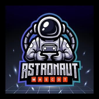 Astronaut mascotte esport logo ontwerp
