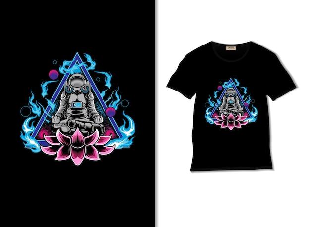 Astronaut mediterende illustratie met t-shirtontwerp
