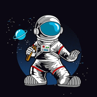Astronaut met dubbele stok