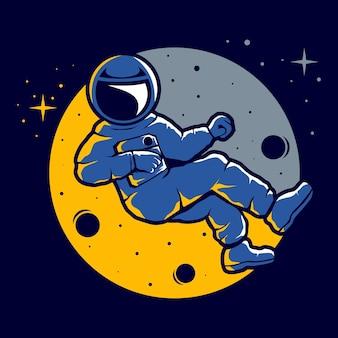 Astronaut met een grappige zweefstijl