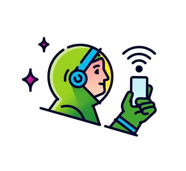 Astronaut met een mobiele telefoon