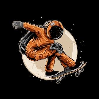 Astronaut met een skateboard op de ruimtemaan