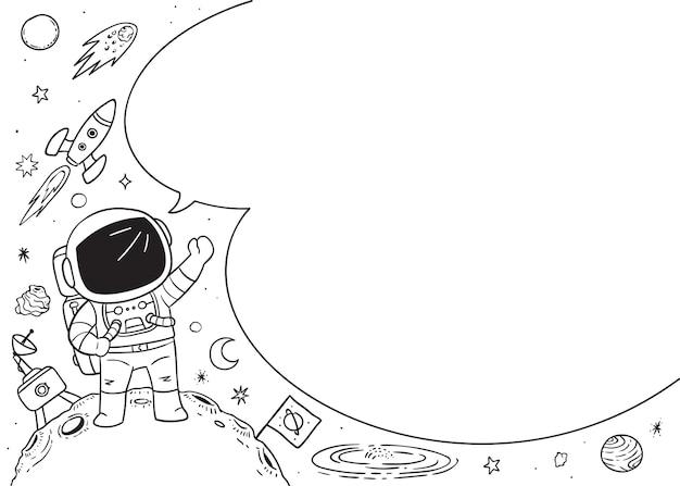 Astronaut met lege spraakbubbel, doodle illustratie