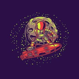 Astronaut met maan surfen