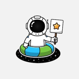 Astronaut met plezier en zwemmen in het universum