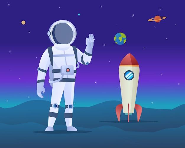 Astronaut met raket op een illustratie van het ruimteavontuur van de planeet