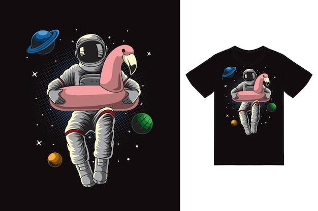 Astronaut met roze vlotterillustratie met premium vector van het t-shirtontwerp
