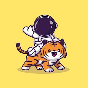 Astronaut met schattige tijger cartoon vector pictogram illustratie. wetenschap technologie pictogram concept geïsoleerd premium vector. platte cartoonstijl