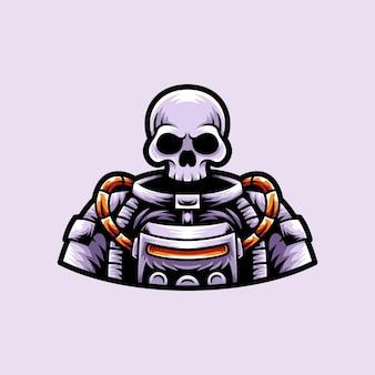 Astronaut met schedel hoofd mascotte karakter