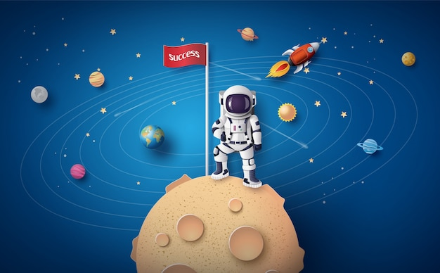 Astronaut met vlag op de maan, papierkunst en digitale ambachtelijke stijl.