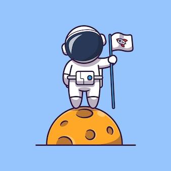 Astronaut met vlag op maan pictogram illustratie. spaceman mascotte stripfiguur. wetenschap pictogram concept geïsoleerd