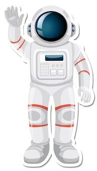 Astronaut of ruimtevaarder stripfiguur in stickerstijl