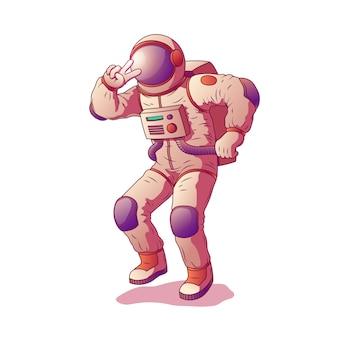 Astronaut of ruimtevaarderskarakter die ruimtepak dragen die gebaar van overwinning tonen