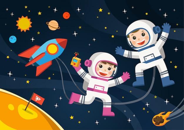 Astronaut op de planeet met een buitenaards ruimteschip. ruimtescènes.