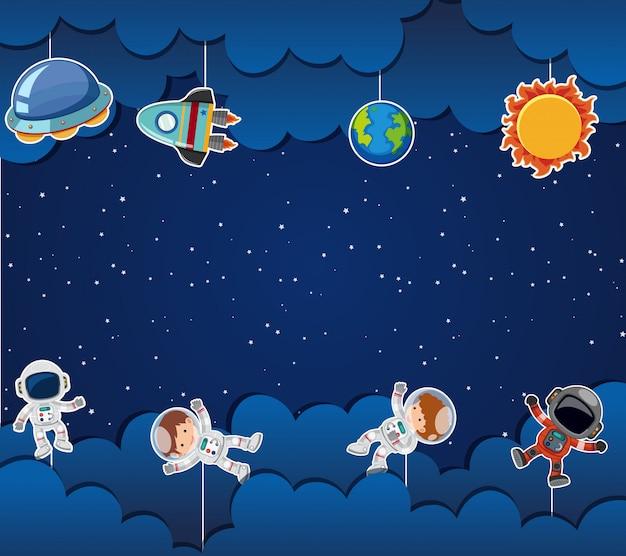 Astronaut op ruimtesjabloon