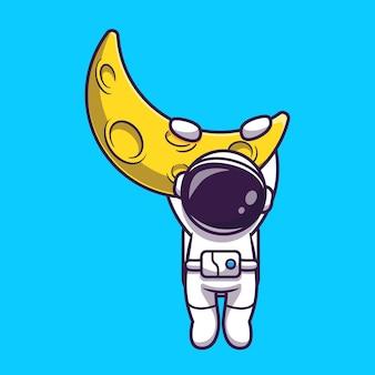 Astronaut opknoping op maan cartoon vectorillustratie pictogram. wetenschap technologie pictogram concept geïsoleerd premium vector. platte cartoonstijl