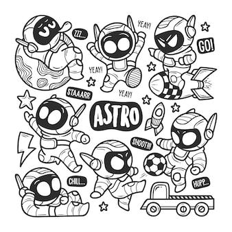 Astronaut pictogrammen hand getrokken doodle kleuren