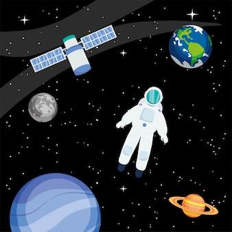 Astronaut planeten satelliet en sterren in de ruimte van het universum