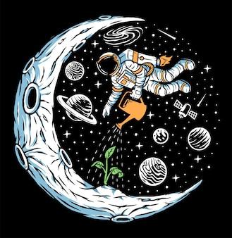 Astronaut plant bomen op de maan