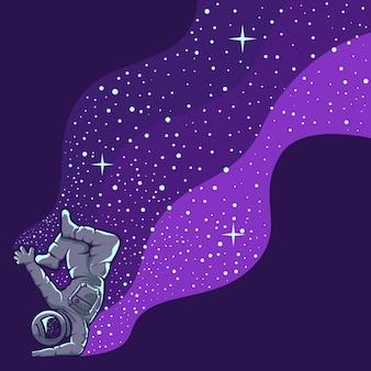 Astronaut plezier geïsoleerd op paars
