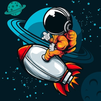 Astronaut ride the rocket ship illustration