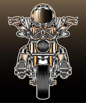 Astronaut rijden motorfiets.