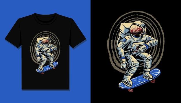 Astronaut rijden skateboard voor t-shirtontwerp