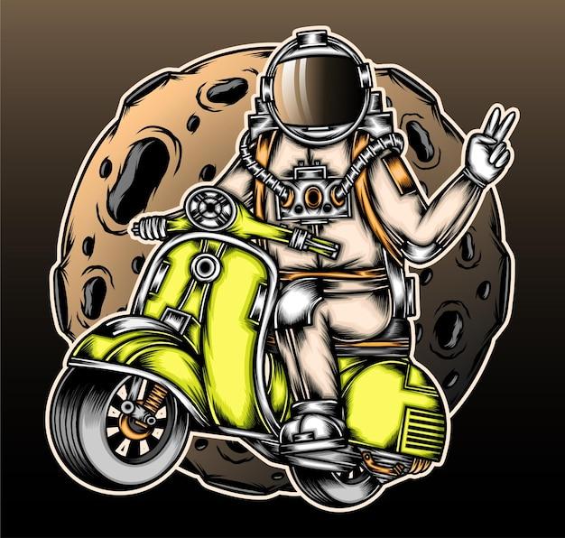 Astronaut rijdende scooter.