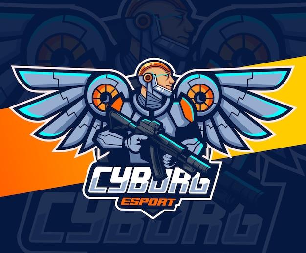 Astronaut robot mascotte met vleugels en wapen esport logo-ontwerp