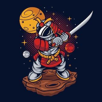 Astronaut samurai illustratie