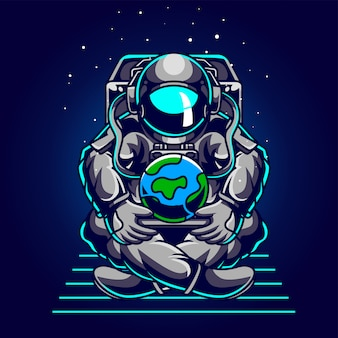 Astronaut save earth illustratie