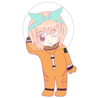 Astronaut schattig meisje karakter droom in de ruimte