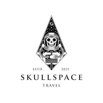 Astronaut schedel ruimte logo sjabloon