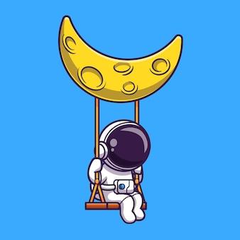 Astronaut schommel op de maan cartoon vector pictogram illustratie. wetenschap technologie pictogram concept geïsoleerd premium vector. platte cartoonstijl