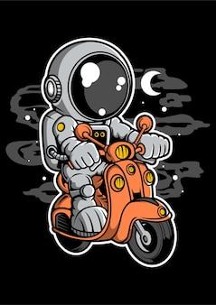 Astronaut scooter stripfiguur